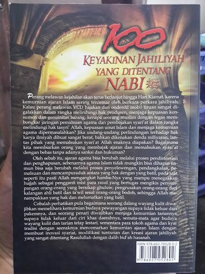 Buku 100 Keyakinan Jahiliyah Yang Ditentang Nabi Cover Belakang