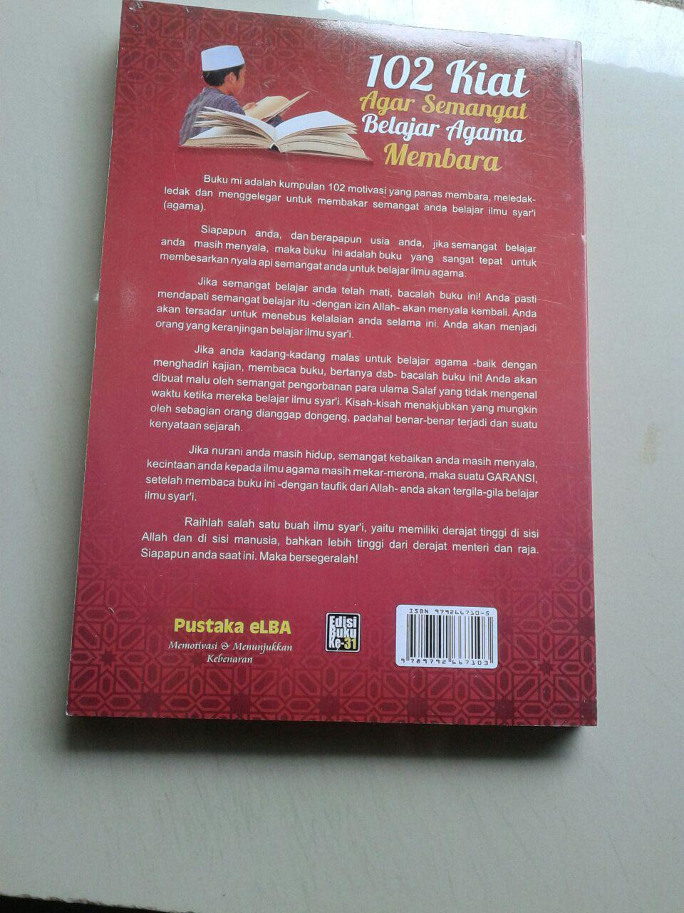 Buku 102 Kiat Agar Semangat Belajar Agama Membara cover