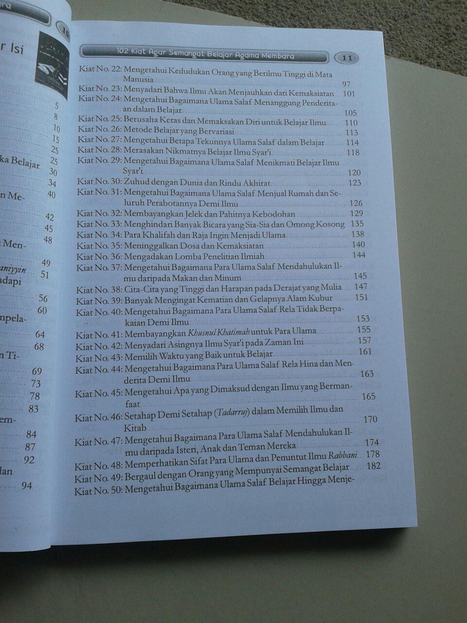 Buku 102 Kiat Agar Semangat Belajar Agama Membara isi 2