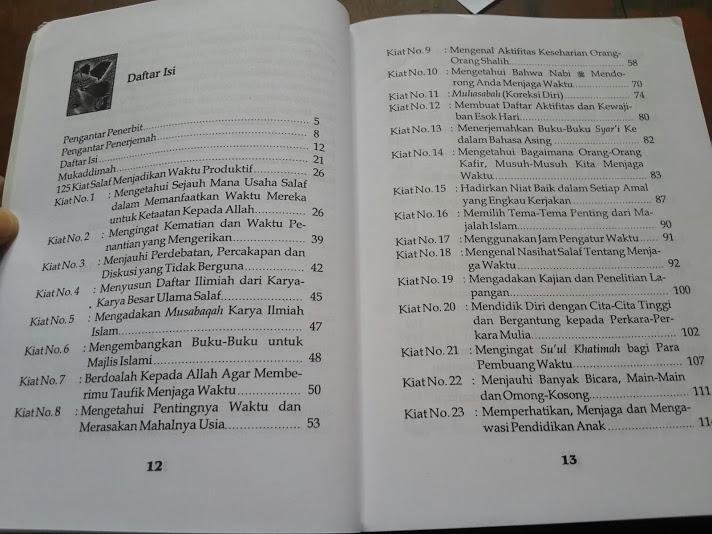 Buku 125 Kiat Salaf Menjadikan Waktu Produktif Daftar Isi