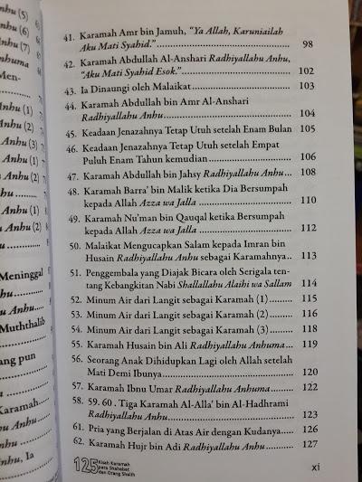 Buku 125 Kisah Karamah Para Shahabat Dan Orang Shalih Daftar Isi