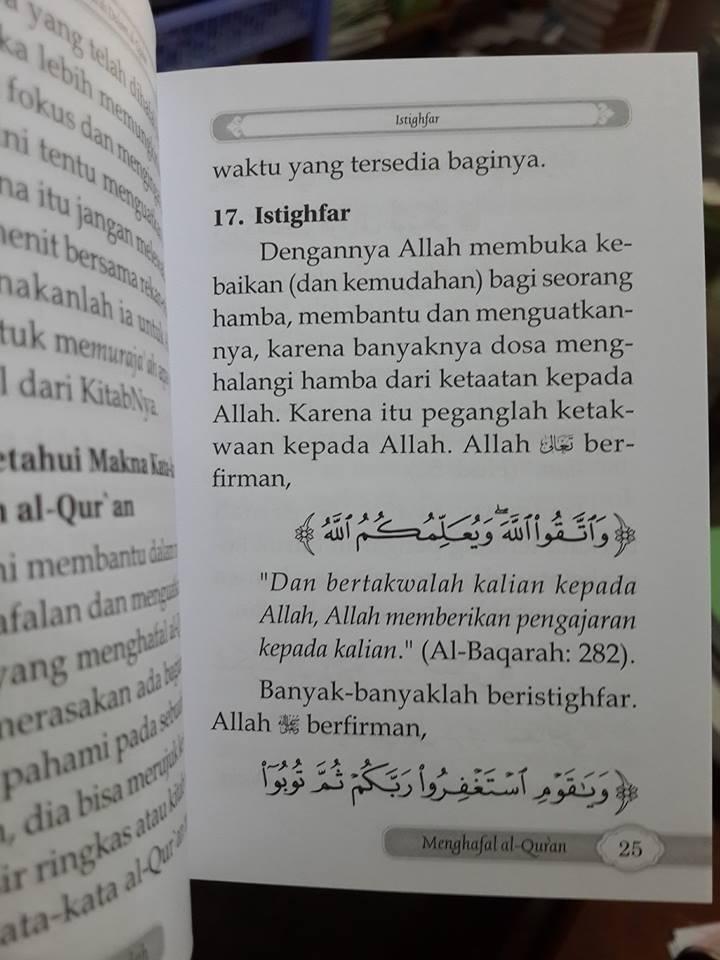 20 langkah agar mudah menghafal al-Qur'an saku isi