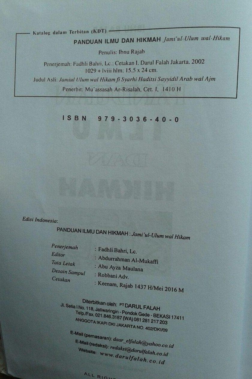 Buku Panduan Ilmu Dan Hikmah (Jami'ul Ulum Wal Hikam) isi 4