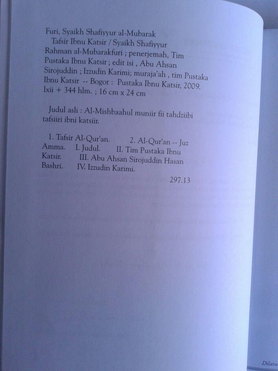 Buku Shahih Tafsir Ibnu Katsir Juz 'Amma isi 2