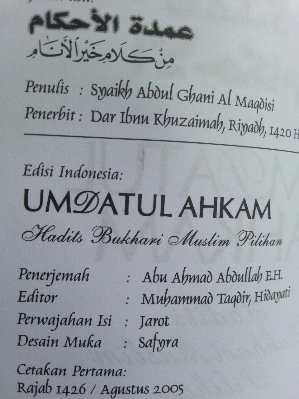 Buku Terjemah Umdatul Ahkam Ukuran A5 isi 3