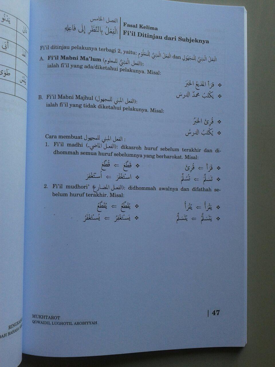 Buku Mukhtarot Ringkasan Kaidah Bahasa Arab isi 2