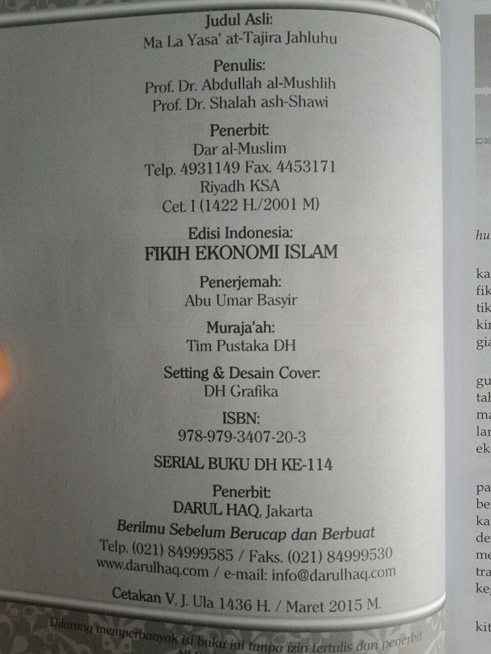 Buku Fikih Ekonomi Islam isi