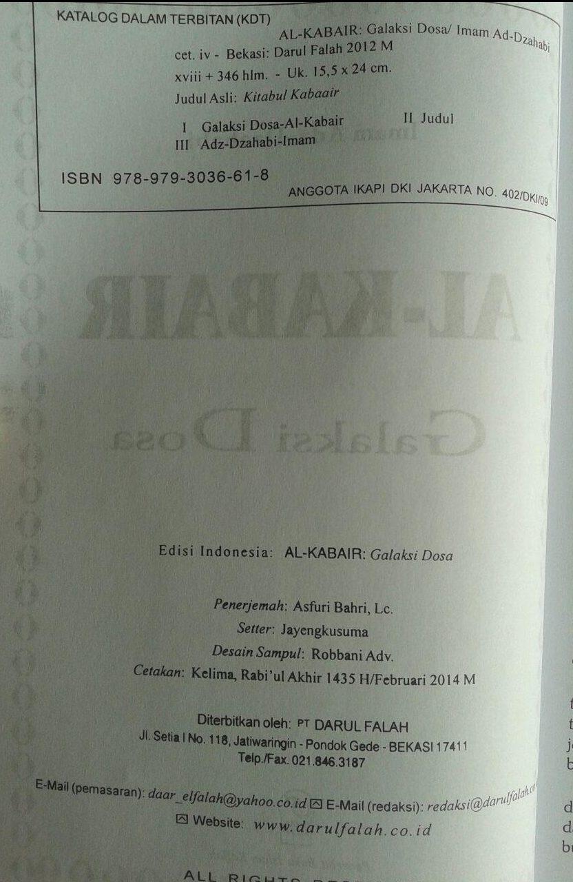 Buku Al-Kabair Galaksi Dosa isi 3