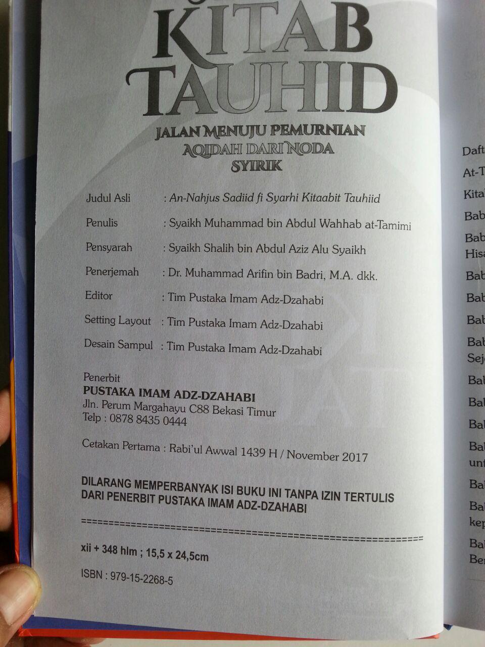 Buku Syarah Kitab Tauhid Jalan Menuju Permurnian Aqidah isi