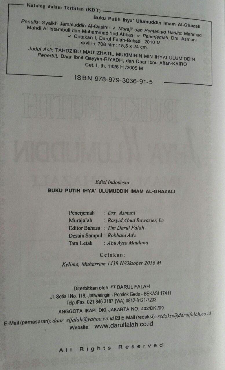 Buku Putih Ihya Ulumuddin Imam Ghazali isi 3
