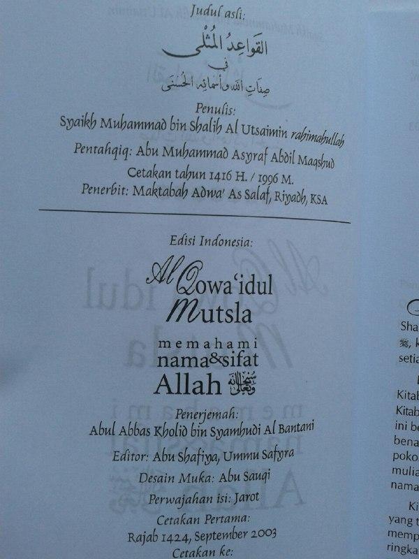 Buku Al Qawa'idul Mutsla Memahami Nama & Sifat Allah isi 3