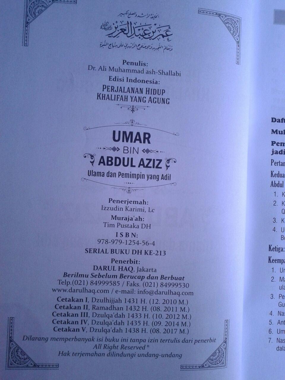 Buku Perjalanan Hidup Khalifah Yang Agung Umar Bin Abdul Aziz Ulama Dan Pemimpin Yang Adil isi