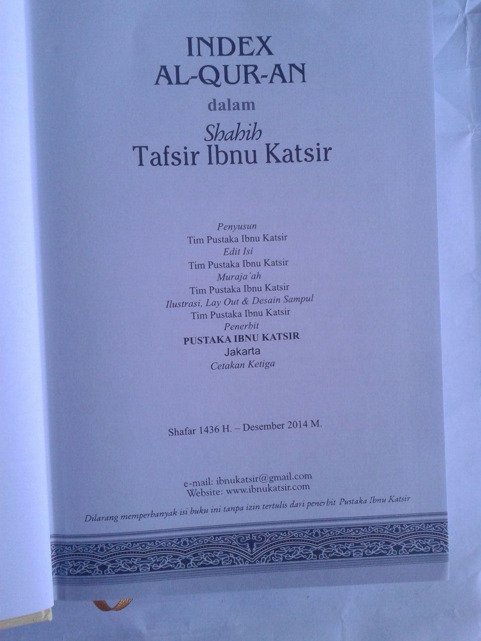 Buku Index Al-Qur'an Dalam Shahih Tafsir Ibnu Katsir isi 2
