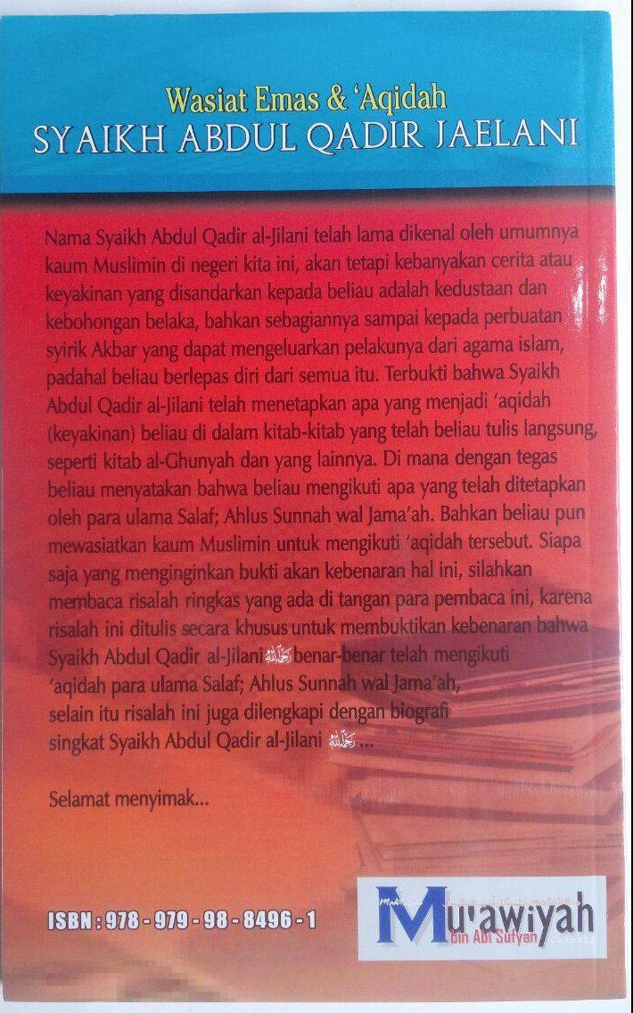 Buku Wasiat Emas Dan Aqidah Syaikh Abdul Qadir Jaelani 35,000 15% 29,750 cover