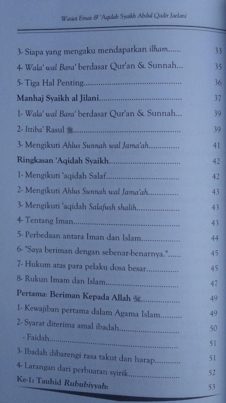Buku Wasiat Emas Dan Aqidah Syaikh Abdul Qadir Jaelani 35,000 15% 29,750 isi 2