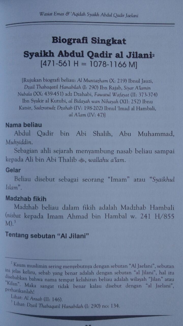 Buku Wasiat Emas Dan Aqidah Syaikh Abdul Qadir Jaelani 35,000 15% 29,750 isi