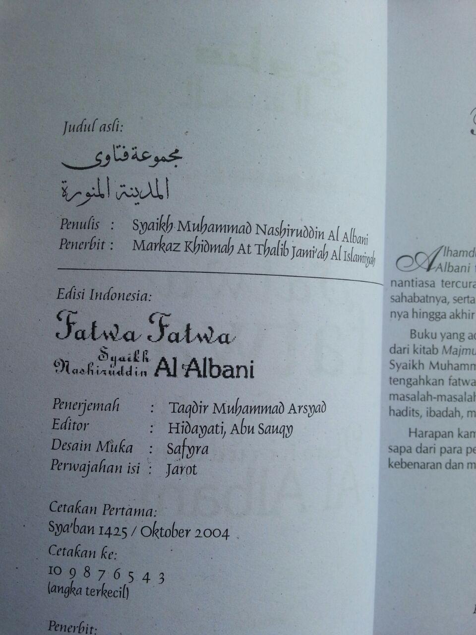 Fatwa-fatwa Syaikh Muhammad Nashiruddin al-Albani isi