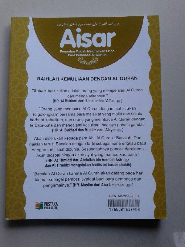 Buku Aisar Penuntun Mudah Meluruskan Lisan Pembaca Al-Quran cover 2
