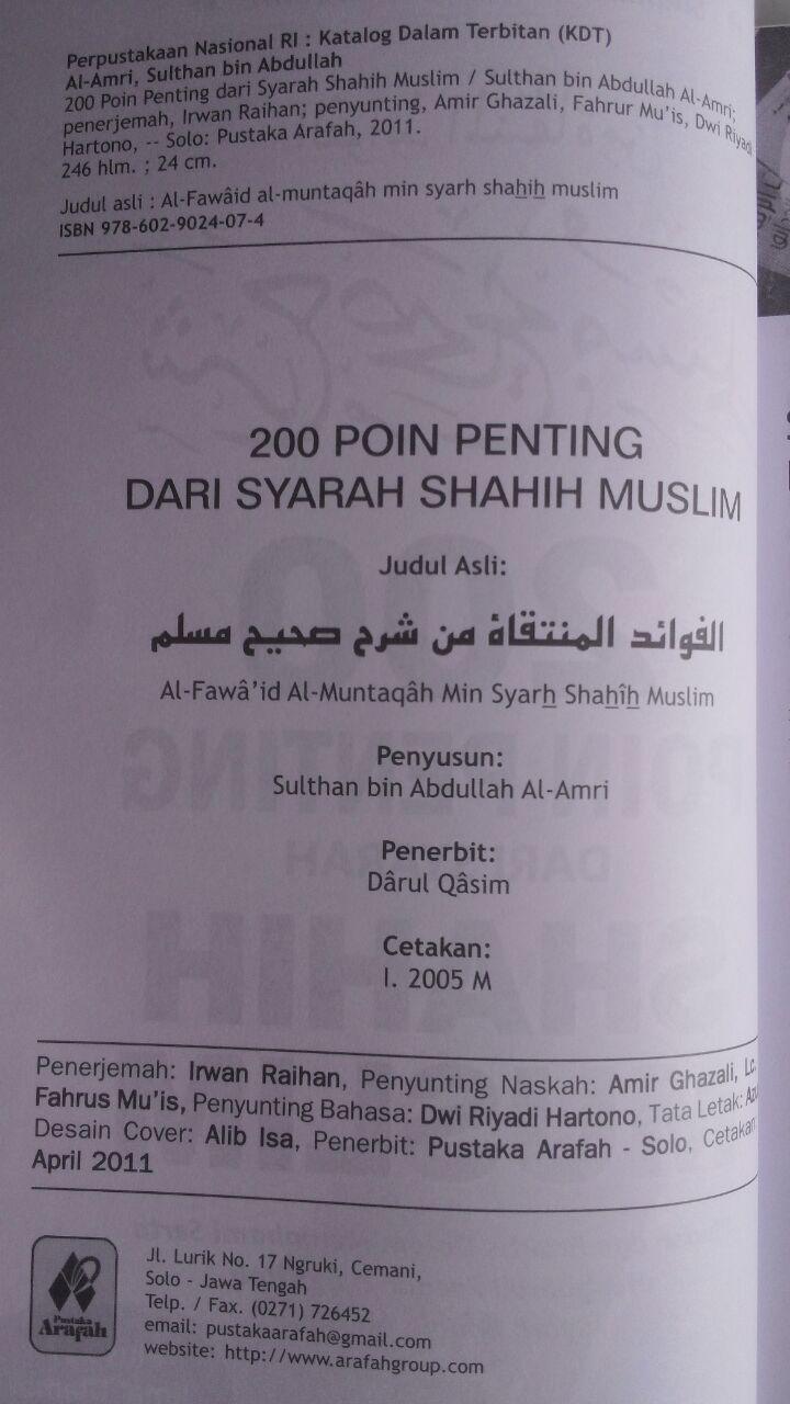 Buku 200 Poin Penting Dari Syarah Shahih Muslim isi