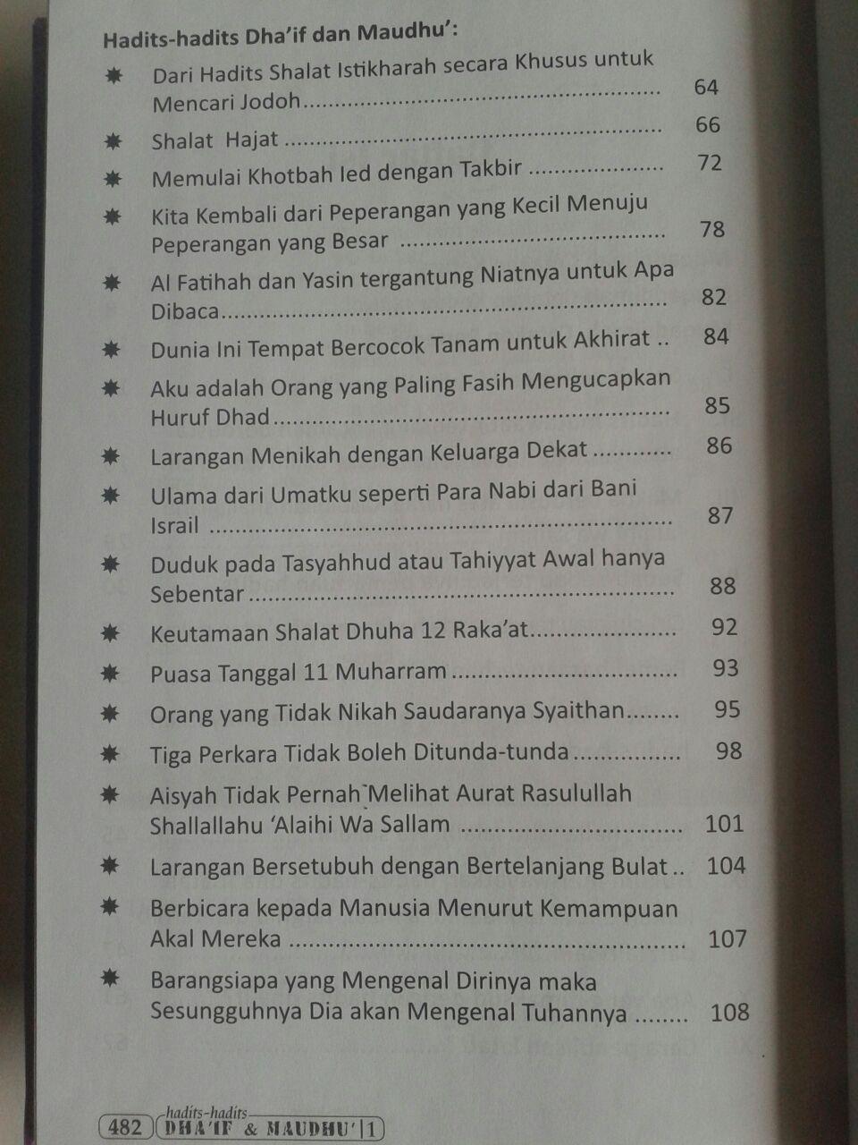 Buku Hadits-Hadits Dhaif dan Maudhu (2 Jilid) isi 6