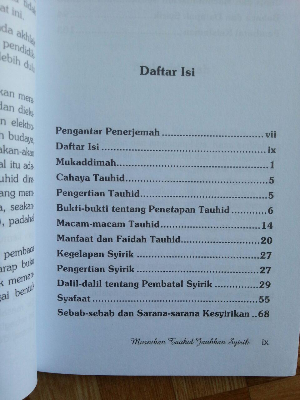 Buku Murnikan Tauhid Jauhkan Syirik isi