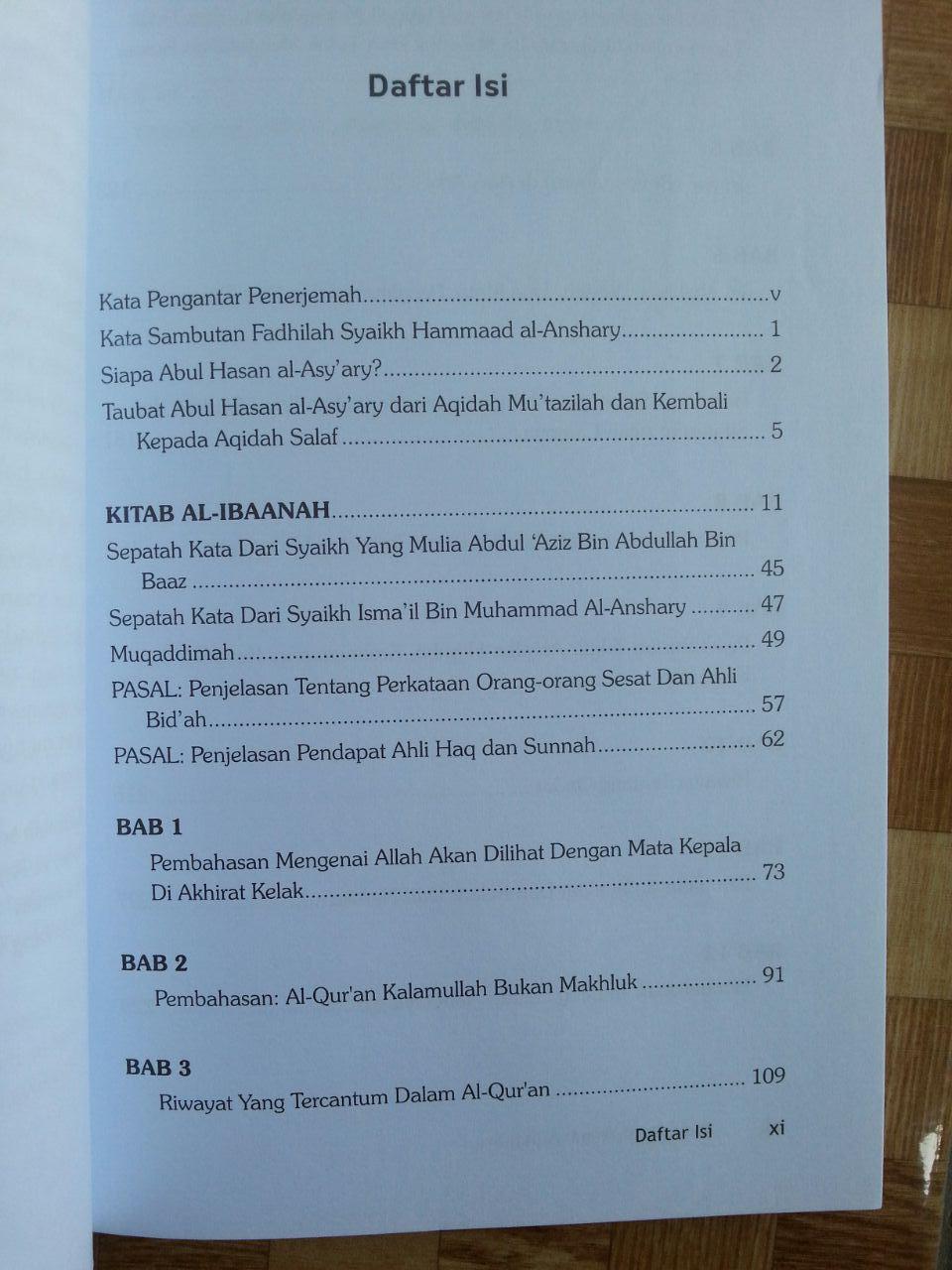 Buku Putih Imam Al-Asy'ari Al-Ibanah isi 2
