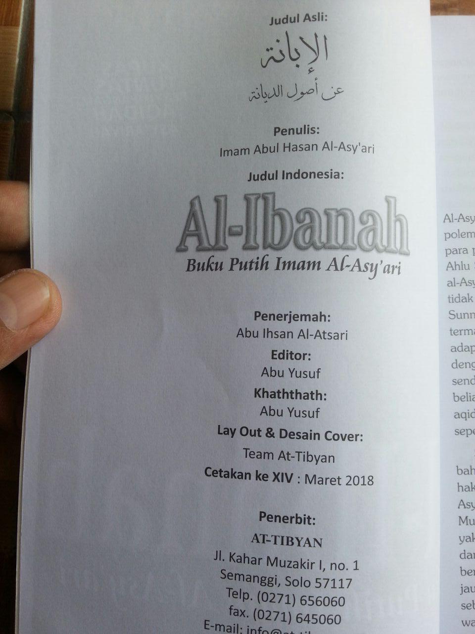 Buku Putih Imam Al-Asy'ari Al-Ibanah isi