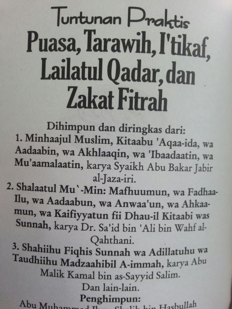Buku Saku Tuntunan Praktis Puasa Tarawih I'tikaf Lailatul Qadar dan Zakat Fitrah isi