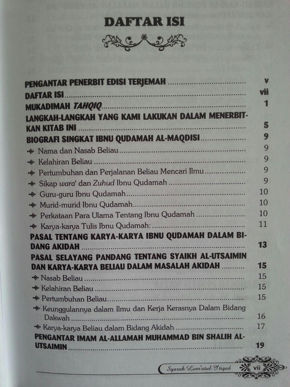 Buku Syarah Lum'atul I'tiqad isi 2