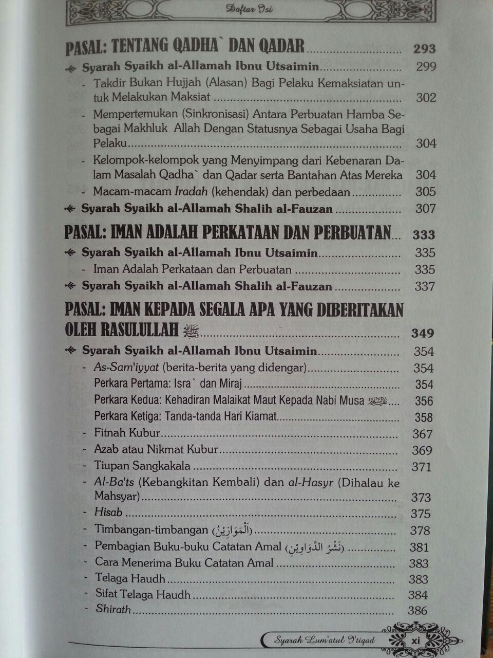 Buku Syarah Lum'atul I'tiqad isi