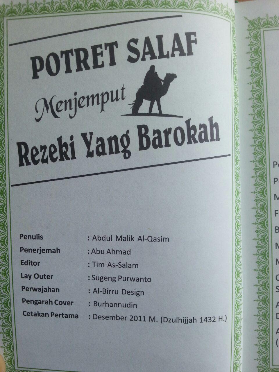 Buku Potret Salaf Menjemput Rezeki yang Barokah isi