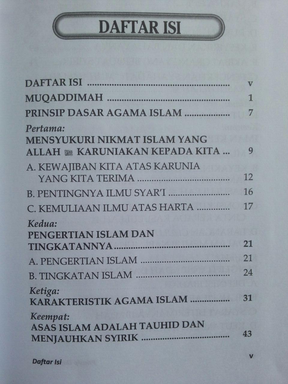 Buku Prinsip Dasar Islam Menurut Al-Qur'an Dan As-Sunnah isi 2