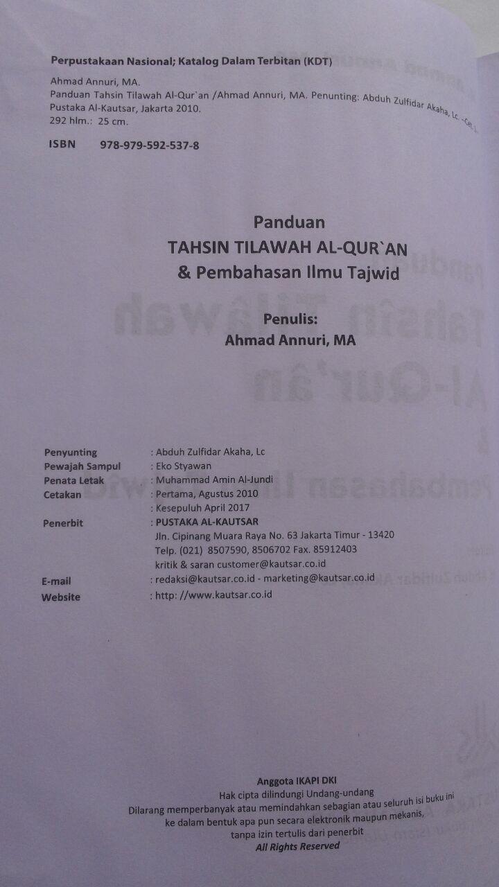 Buku Panduan Tahsin Tilawah Al-Qur'an Dan Ilmu Tajwid isi 3