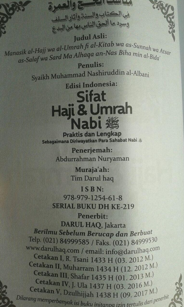 Buku Sifat Haji dan Umrah Nabi isi