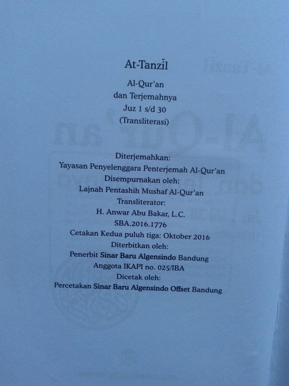 Al-Qur'an Dan Terjemahnya Serta Transliterasi At-Tanzil isi 2