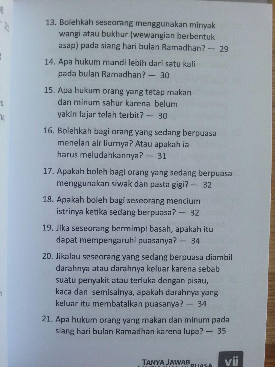 Buku Tanya Jawab Seputar Masalah Puasa isi 2