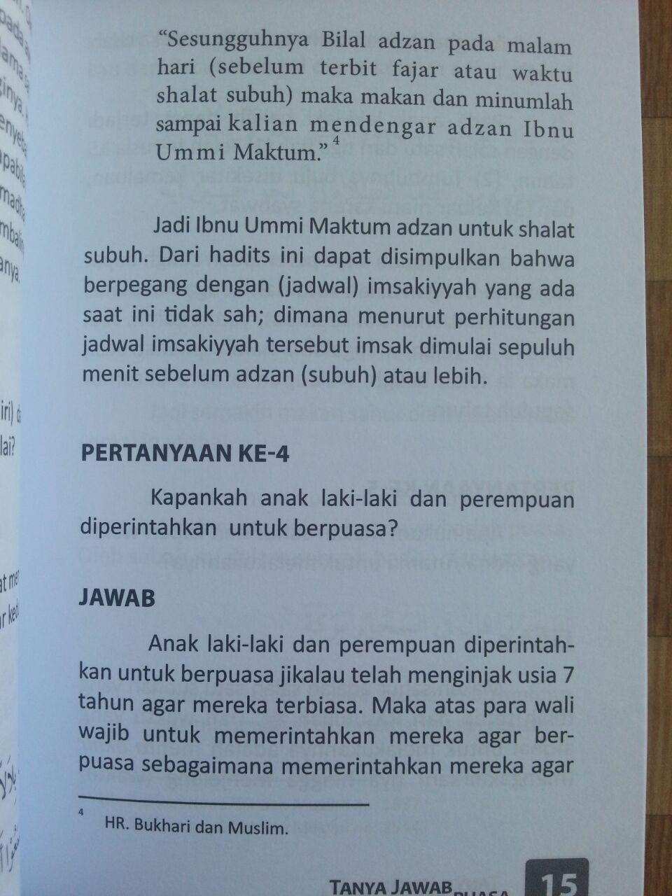 Buku Tanya Jawab Seputar Masalah Puasa isi 3