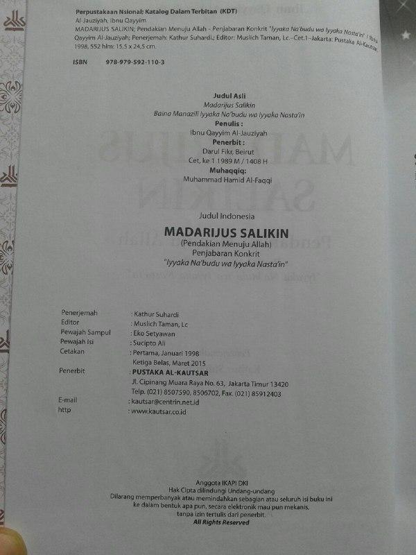 Buku Madarijus Salikin Pendakian Menuju Allah isi 4