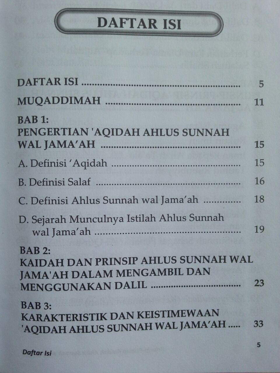 Buku Prinsip-Prinsip Aqidah Ahlus Sunnah Wal Jamaah isi 2