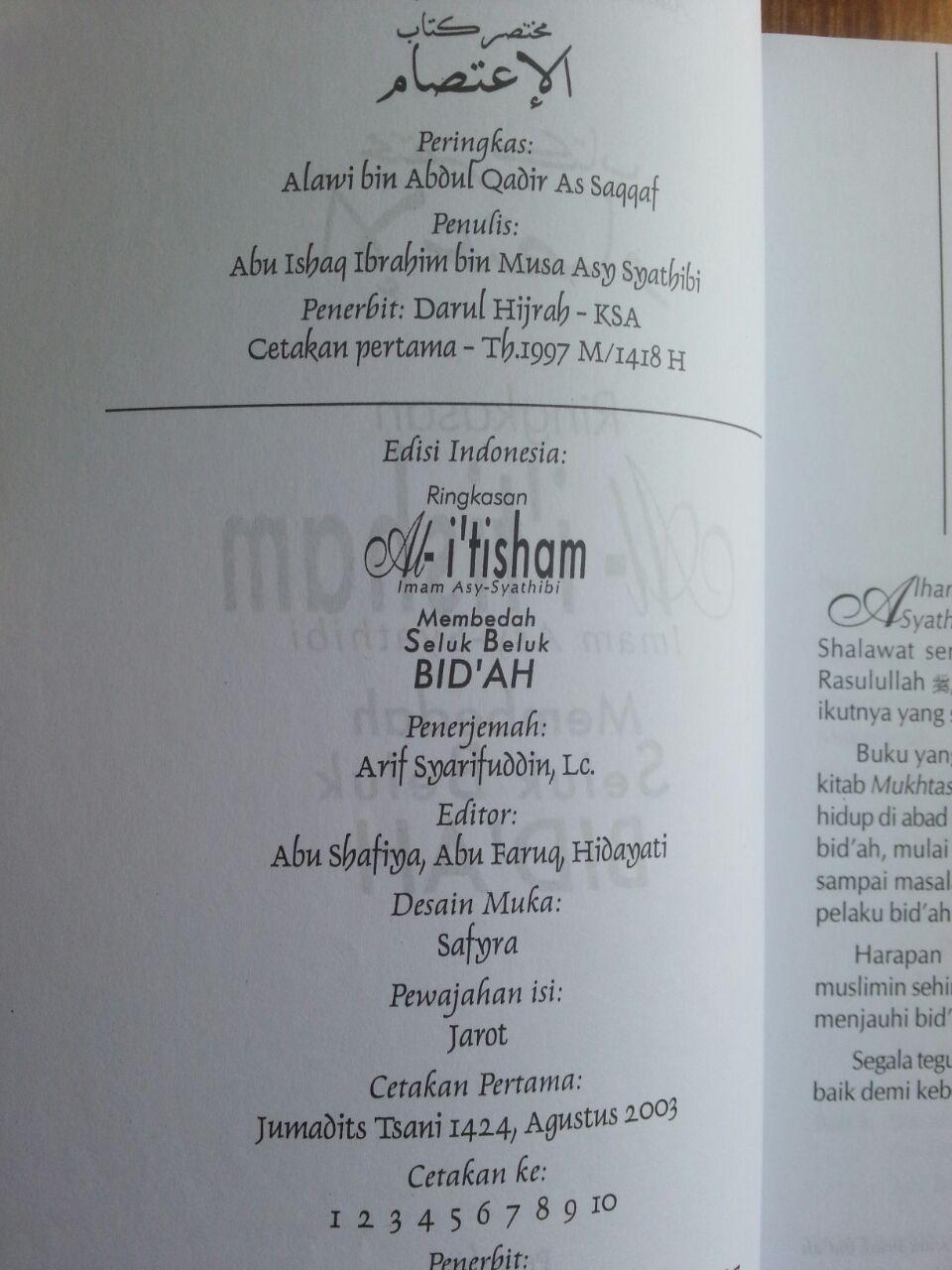 Buku Ringkasan Al-I'tisham (Membedah Seluk Beluk Bidah) isi