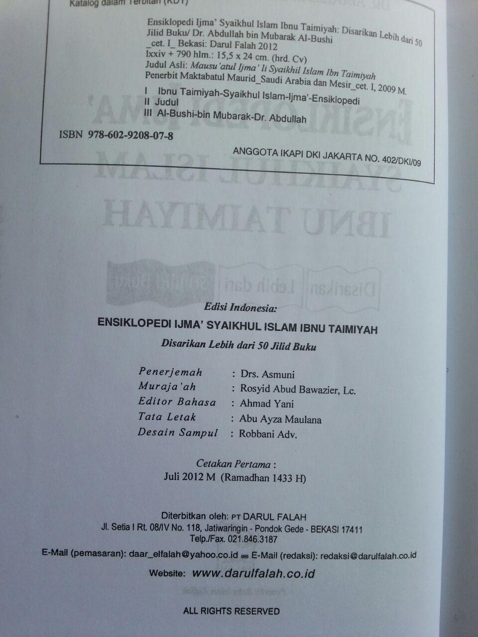 Buku Ensiklopedi Ijma Syaikhul Islam Ibnu Taimiyah isi 2