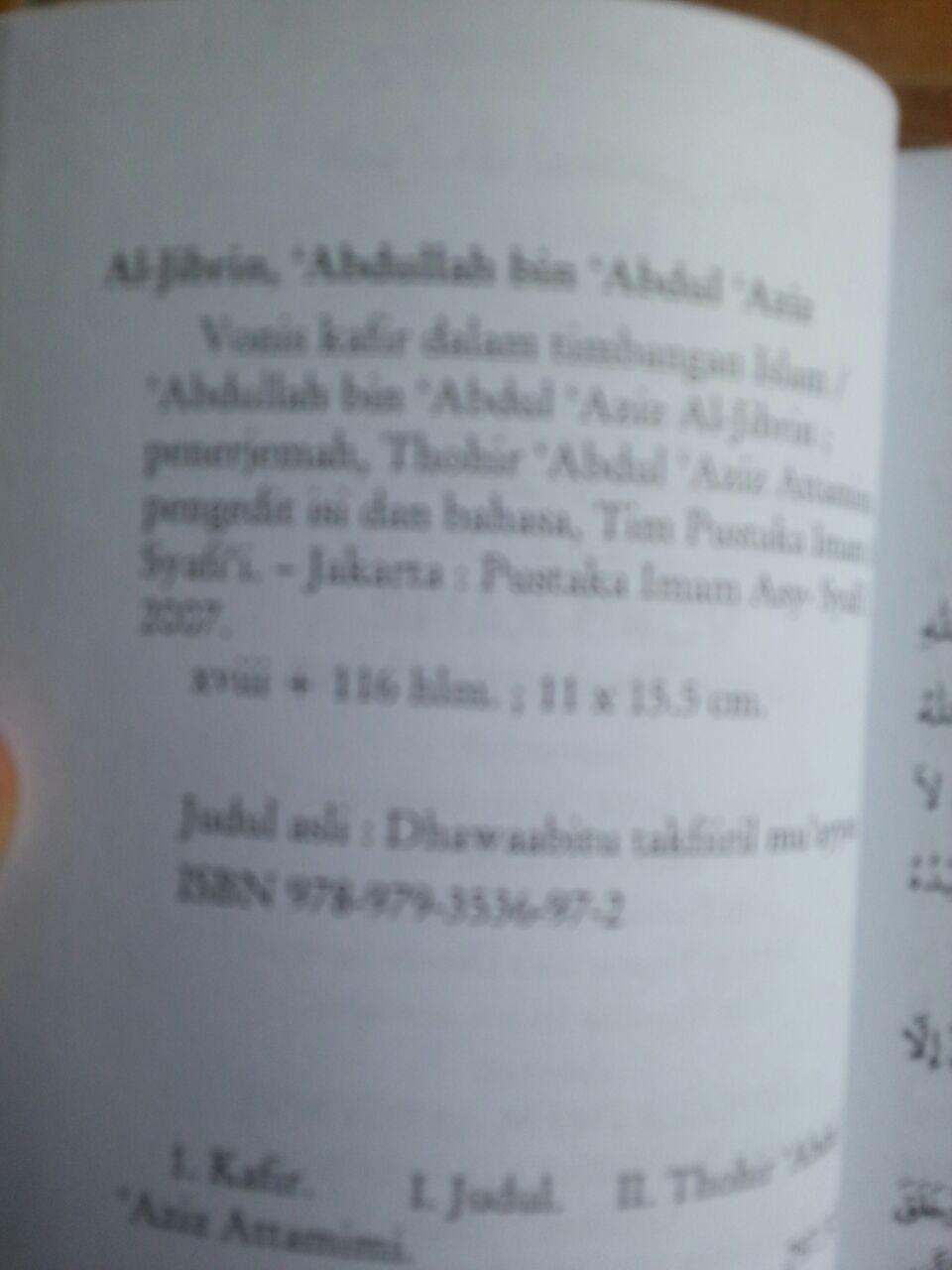Buku Vonis Kafir Dalam Timbangan Islam isi