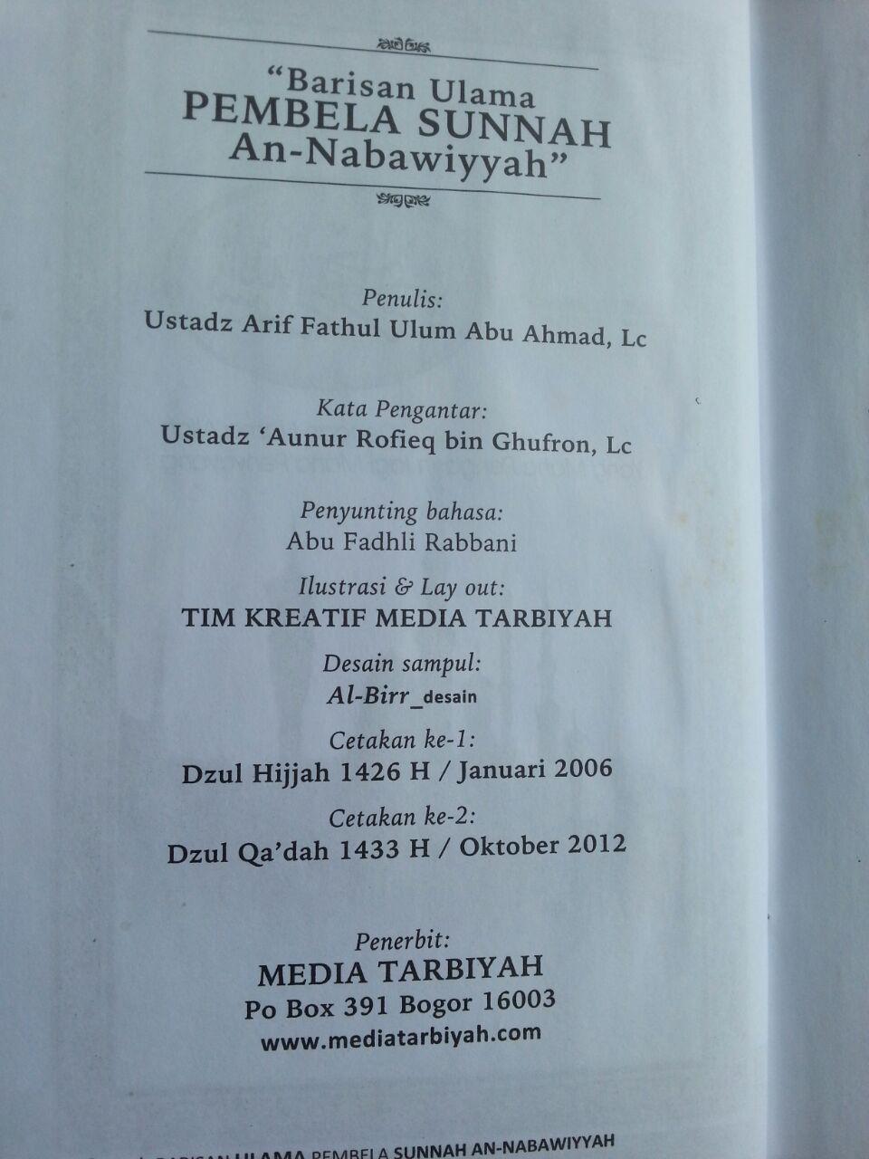 Buku Barisan Ulama Pembela Sunnah An-Nabawiyyah isi