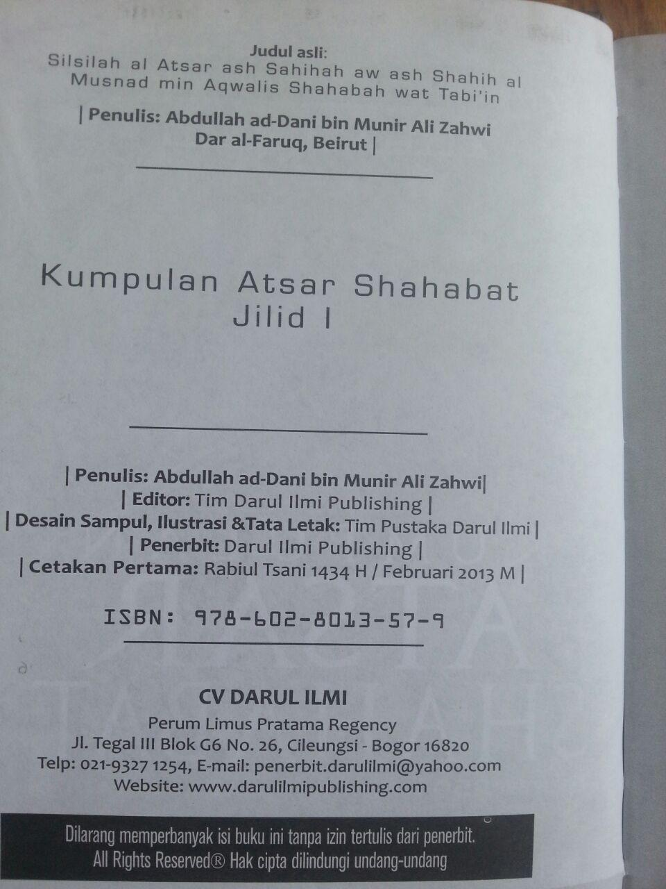 Buku Kumpulan Atsar Shahabat 1 Set 2 Jilid isi