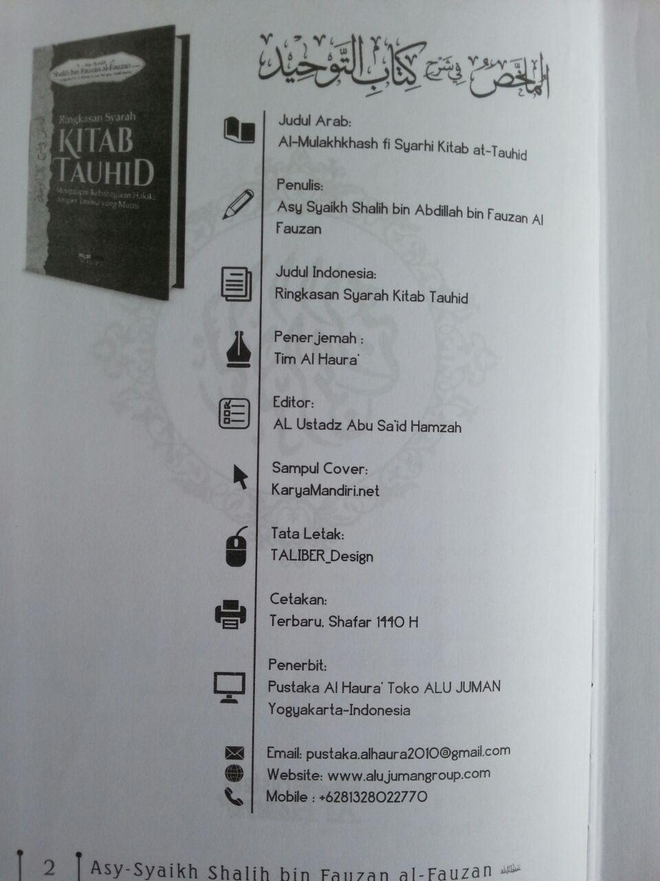 Buku Ringkasan Syarah Kitab Tauhid isi