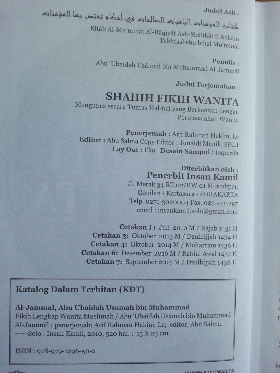 Buku Shahih Fiqih Wanita Syaikh Abu Ubaidah Usamah isi