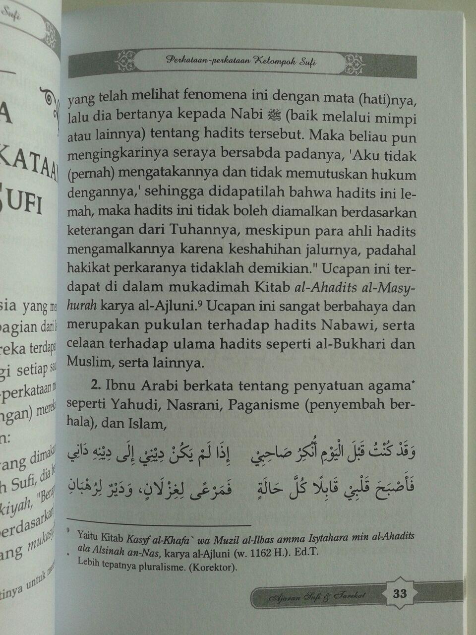 Buku Ajaran Sufi Dan Tarekat Dalam Timbangan Al-Quran Dan As-Sunnah isi