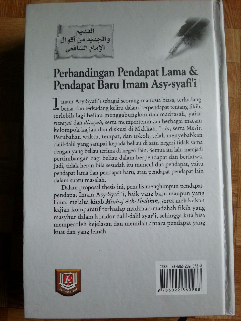 Buku Perbandingan Pendapat Lama Dan Pendapat Baru Imam Asy-Syafi'i cover