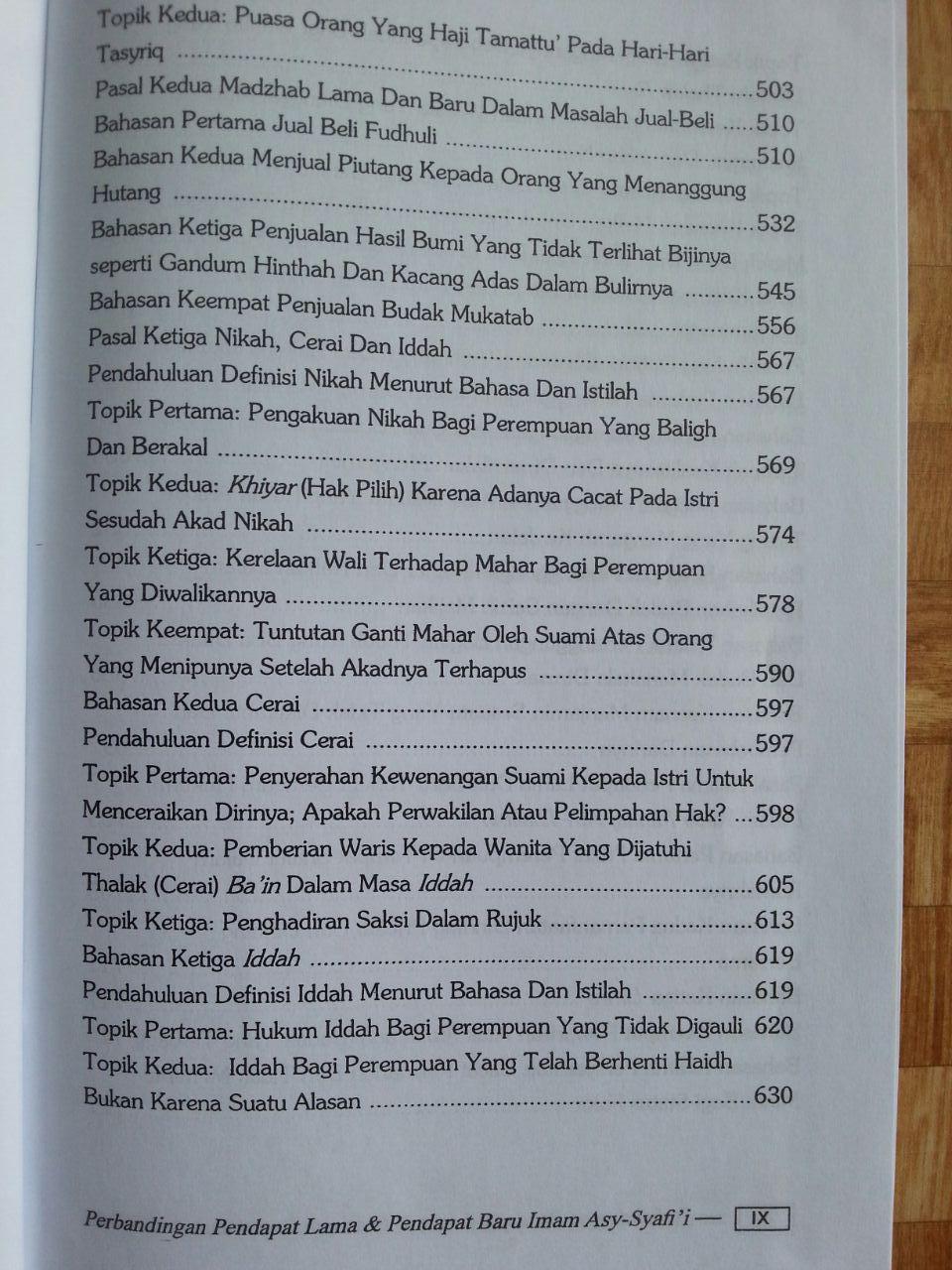 Buku Perbandingan Pendapat Lama Dan Pendapat Baru Imam Asy-Syafi'i isi