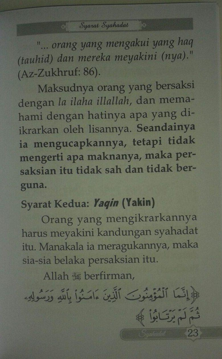Buku Saku Penjelasan Mendasar Dua Kalimat Syahadat isi 3